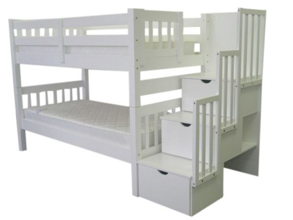 Bunk Beds Twin Over Twin Stairway White Bed Pinterest Bunk Bed