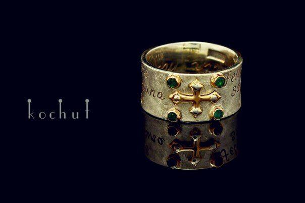 "Ring ""Fortuna"" silver, gold, emeralds"
