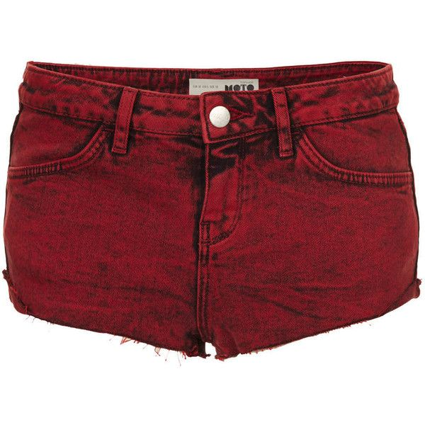 TOPSHOP MOTO Red Denim Hotpants (£15) ❤ liked on Polyvore featuring shorts, bottoms, pants, short, red, denim hot pants, red denim shorts, mini denim shorts, red hot pants and hot short shorts