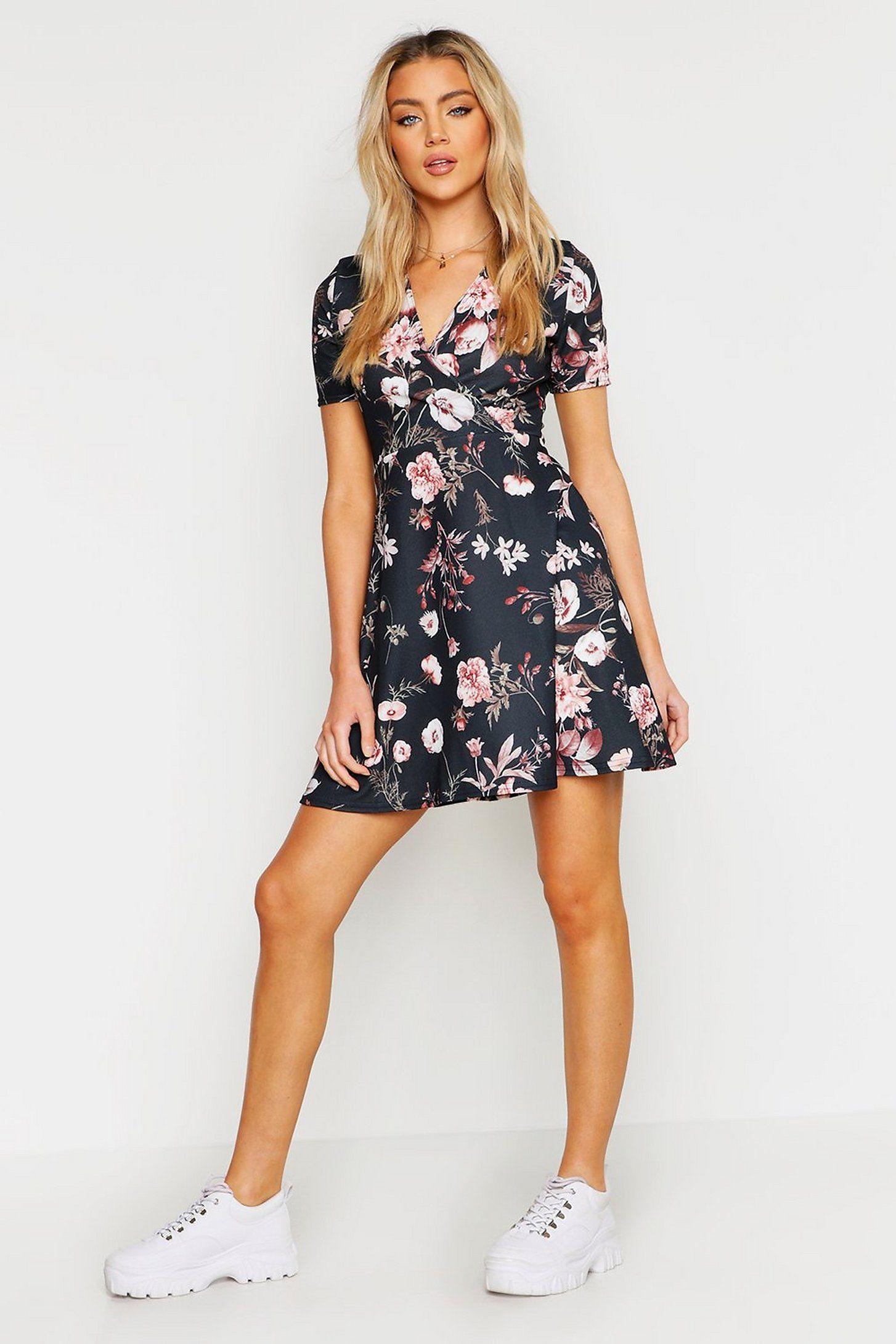 Wrap Floral Skater Dress Boohoo Floral Skater Dress Summer Dress Outfits Skater Dress [ 2181 x 1454 Pixel ]
