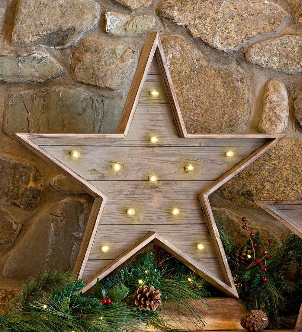 Large Wooden Star With Led Lights Collection Accessories Wooden Stars Christmas Wood Crafts Led Lights