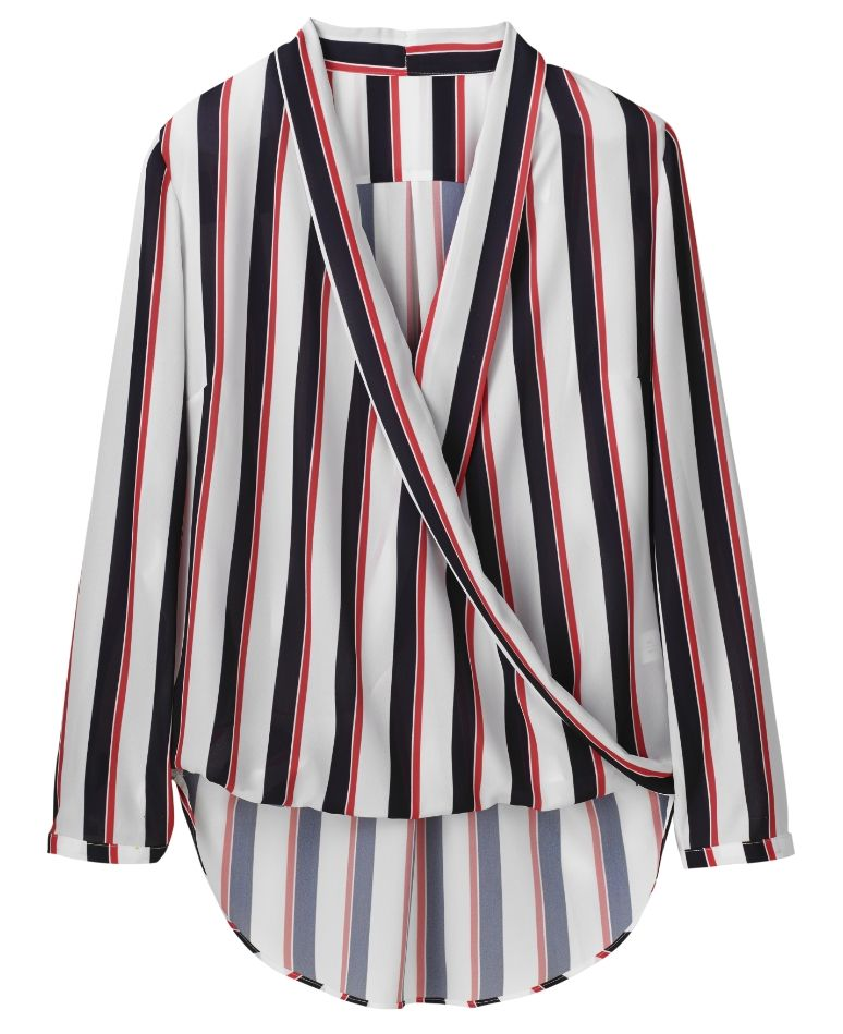"""""""Simply Be"""" Simply Be Stripe Wrap Front Blouse at Simply Be"""