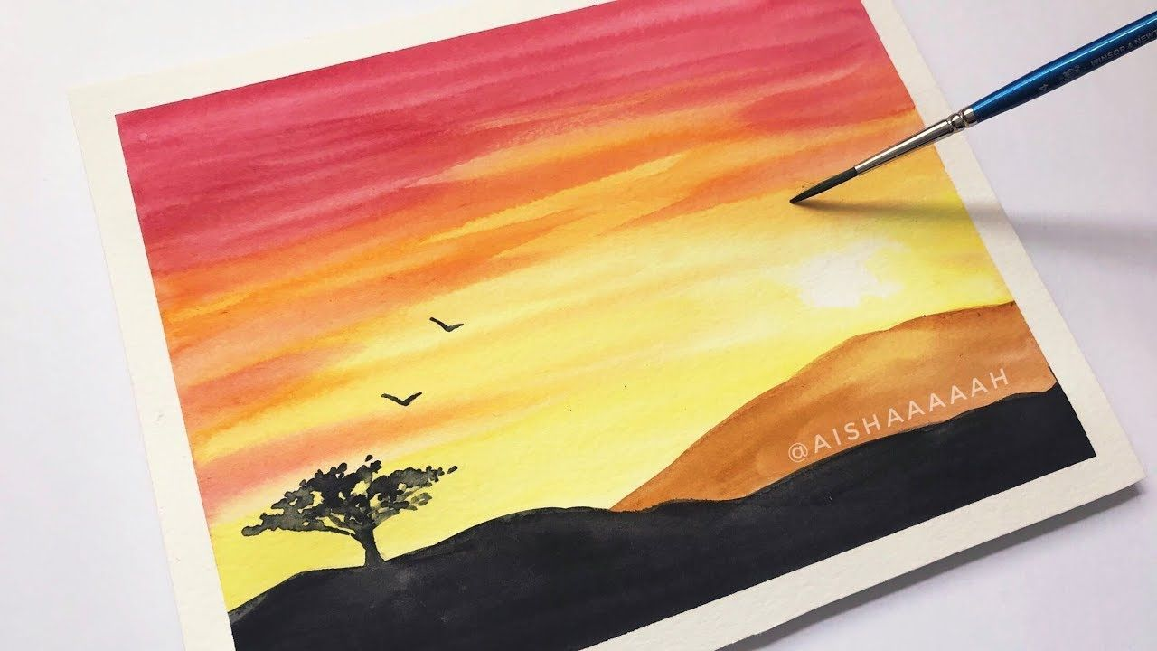 Easy Watercolor Sunset Tutorial For Beginners Step By Step With