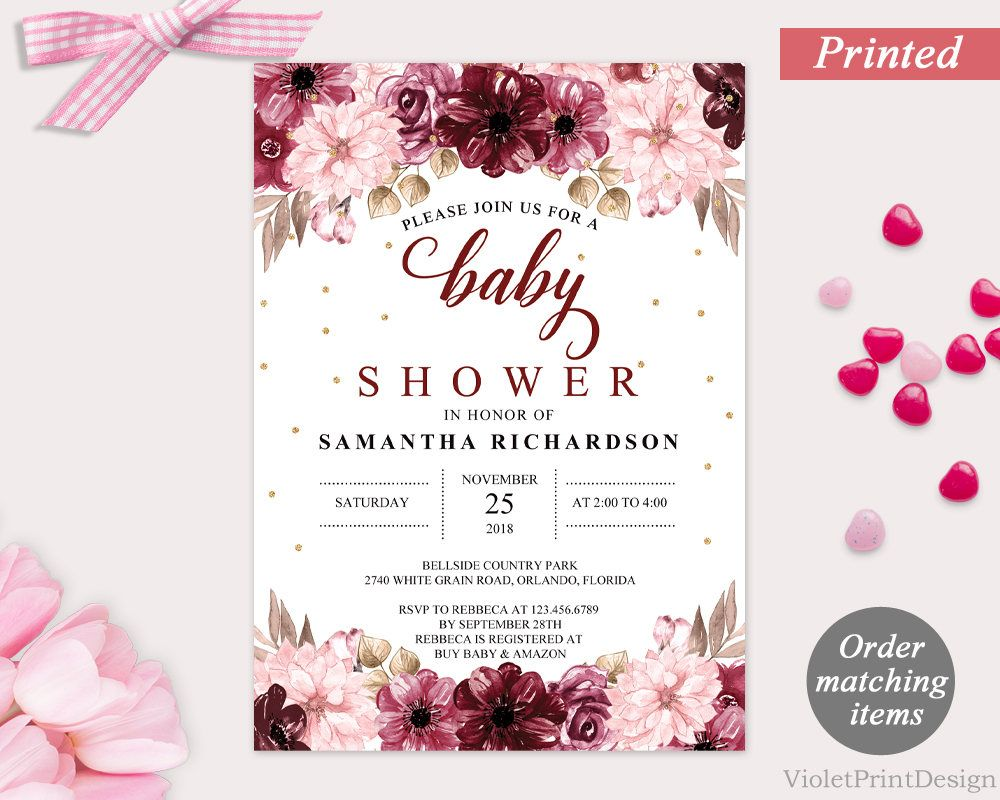 Marsala and Pink Flower Baby Shower Invitation. Printed Floral Baby ...