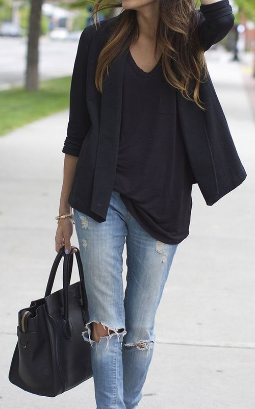 Black blazer and ripped jeans