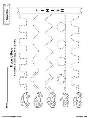 Prewriting Line Tracing To Race Worksheet Preschool Tracing Line Tracing Worksheets Tracing Worksheets Preschool