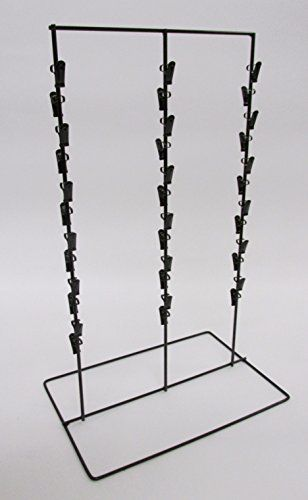 Black Set of 10 Displays2go Potato Chip Hanging Metal Clip Strip with 12 Clips for Snack Bags