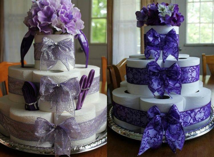 Torte Toilettenpapier Selber Machen Violett Lila Schleife Blumen Klopapiertorte Toilettenpapier Selber Machen