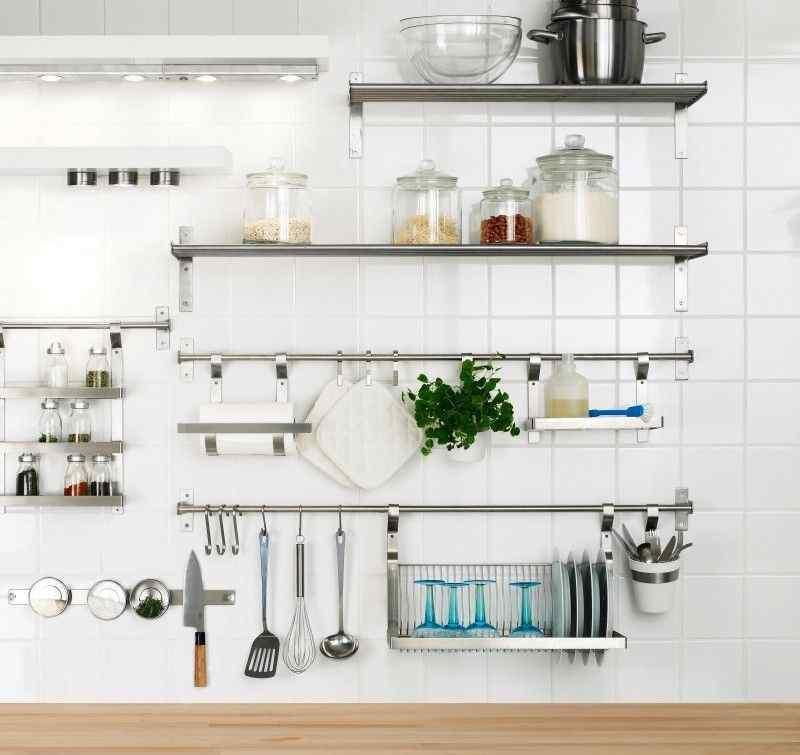 15 Dramatic Kitchen Designs With Stainless Steel Shelves Rilane Kitchen Shelf Design Stainless Steel Kitchen Shelves Kitchen Wall Shelves