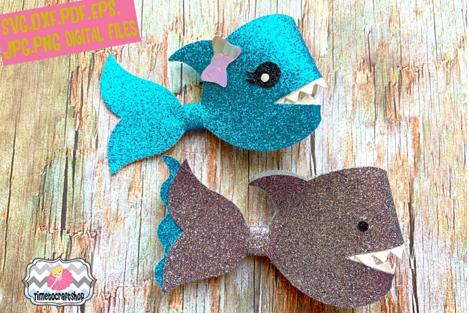 2 Style Shark Hair Bow Template, Glitter hair bow, Felt Hair Bow SVG, PNG, DXF, PDF, JPEG, EPS #hairbows