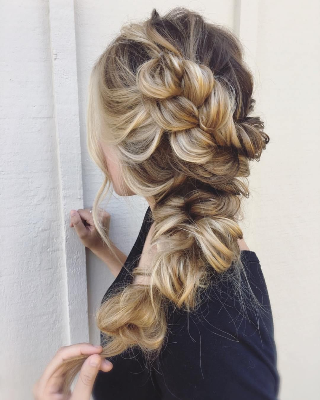 chunky braid hair ,boho braid hairstyles ideas ,boho bride