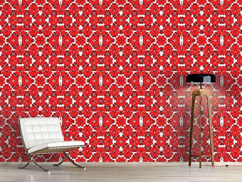 Design Tapete Kleeblatt In Rot Design Tapeten Tapeten Design