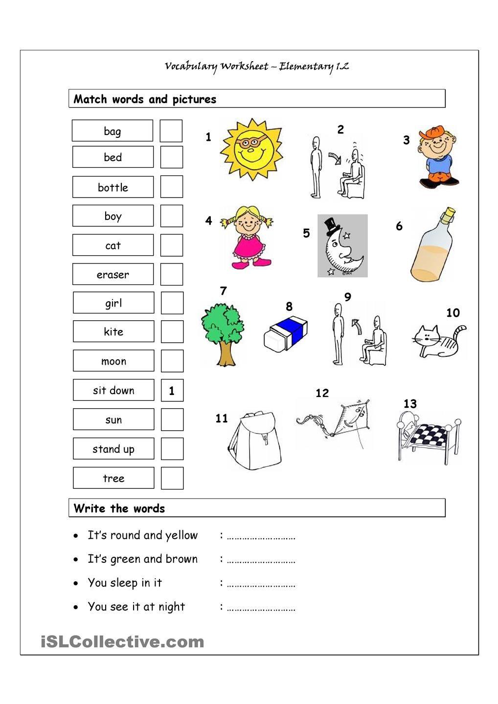 Vocabulary Matching Worksheet Elementary 1.2 ESL
