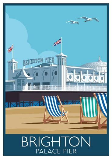 "Brighton Pier Seaside Art Deco style Art Print 14/"" Print"