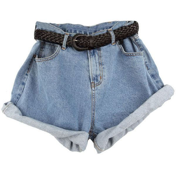 Retro Oversized High Waist Denim Shorts With Rolled Cuffs 48 745 Krw Found On Polyvore High Waisted Shorts Denim Denim Shorts High Waisted Shorts