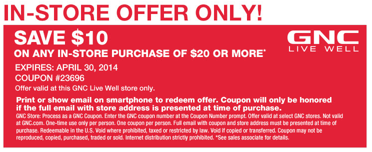 image about Gnc Printable Coupons 10 Off 50 identify GNC: $10 off $20 Printable Coupon Discount coupons Printable