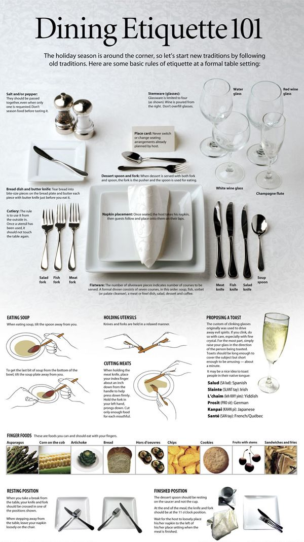 Dining Etiquette 101. I always need a refresher every time I set the table for a formal dinner.  sc 1 st  Pinterest & Dining Etiquette 101. I always need a refresher every time I set the ...