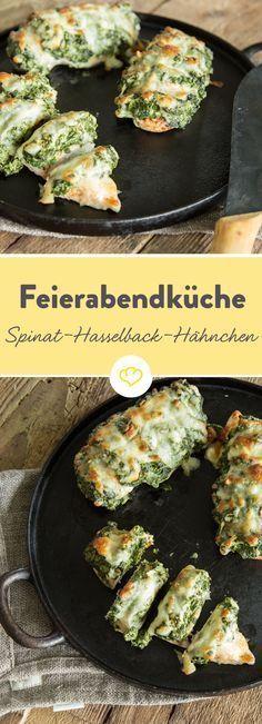 Gefüllt und überbacken: Spinat-Hasselback-Hähnchen