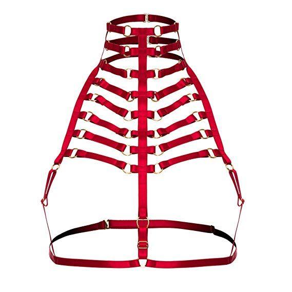 2e98ef8177a HJZLSSYS Body Harness Pentagram Cage Bra Goth Harness Lingerie Exotic Black  Strappy Bra Lingerie Cage Bra  halloween  gift