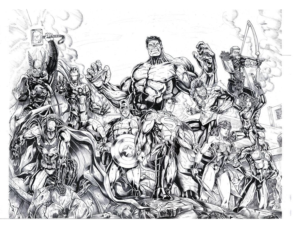 Justice League And The Avengers For Coloring By Jey2dworld