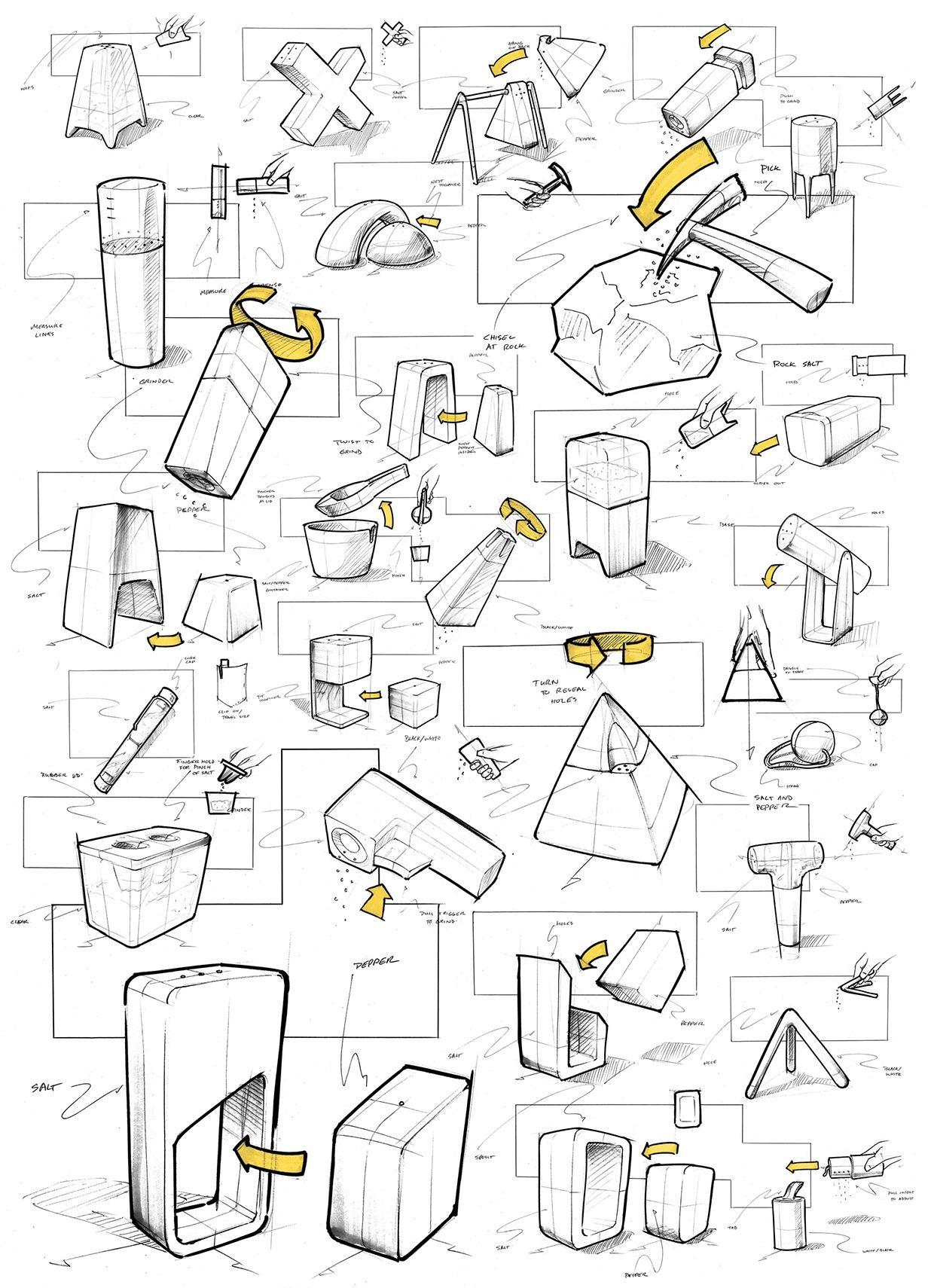 Industrial Design: 「Salt+Pepper Pot」/ Fine Pen / Idea Sketch / Clean Style