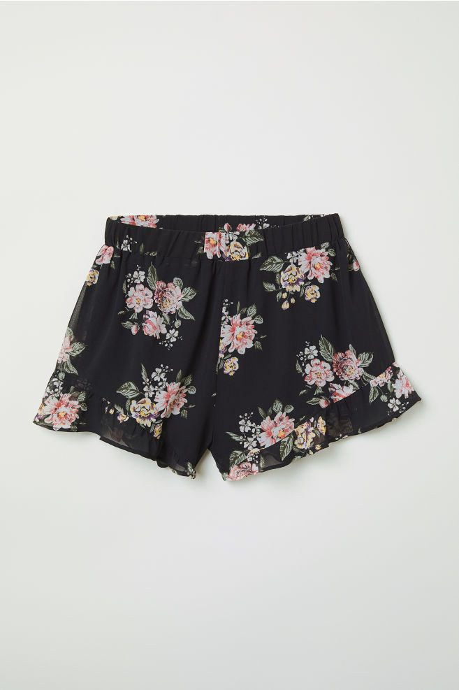 Ruffle-trimmed Chiffon Shorts - Black/floral - Ladies | H&M US