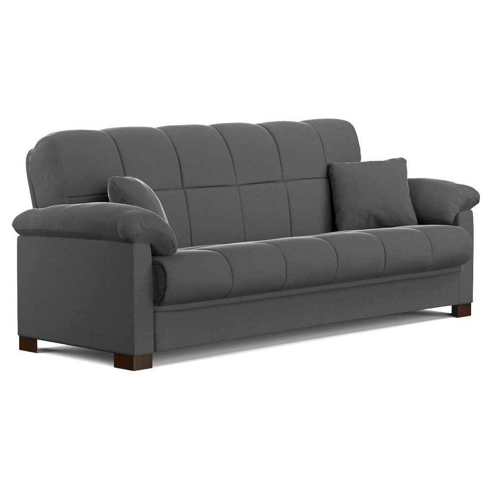 Maurice Pillow Top Arm Convert A Couch Gray Handy Living With Images Futon Sofa