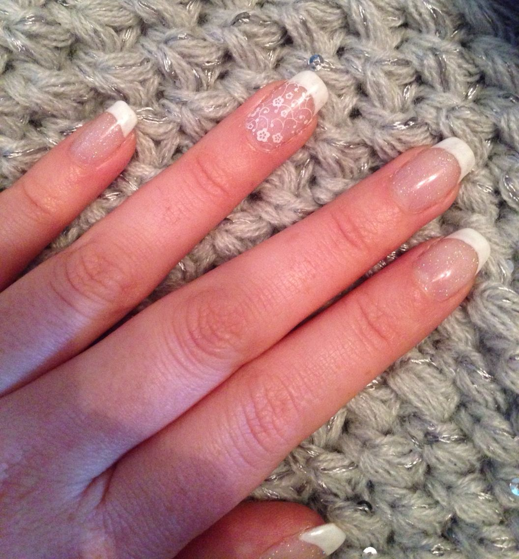 French manicure with flower nail art and subtle glitter | Nails ...
