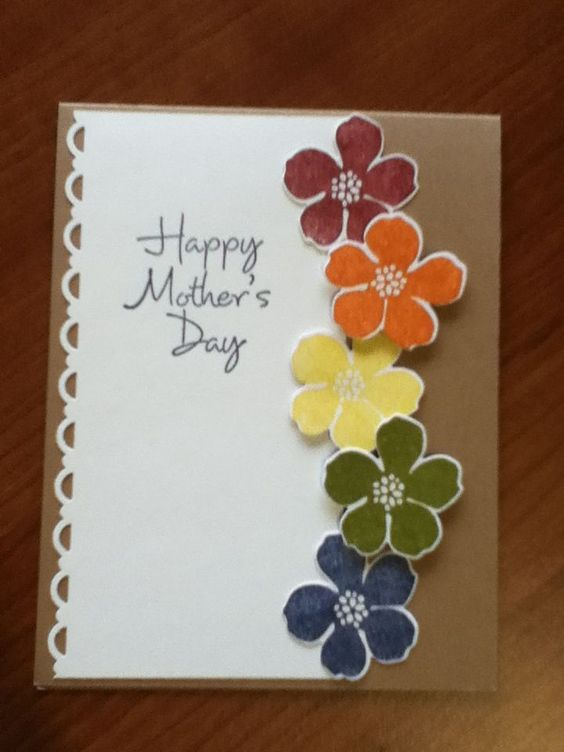 Rainbow Flowers Diy Mothers Day Card Ideas For Children Easy