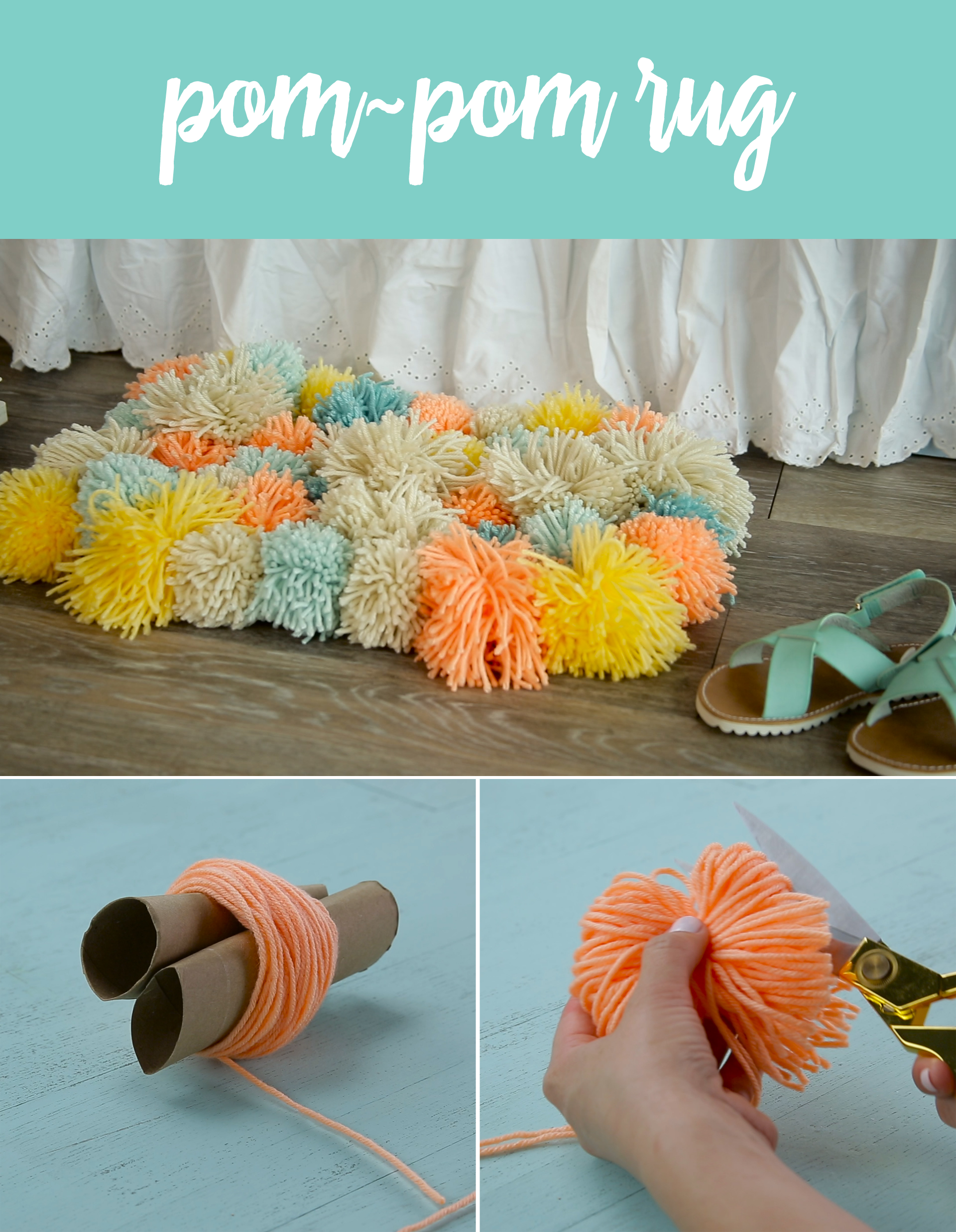 diy pom pom rug crafty things pinterest tapis pompon bricolage et ponpon. Black Bedroom Furniture Sets. Home Design Ideas