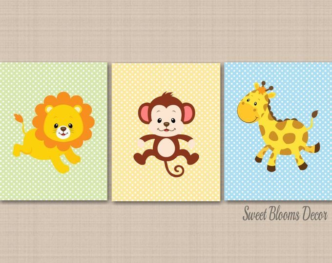 Safari Nursery Decor,Jungle Animals Wall Art,Zoo Animals Nursery ...