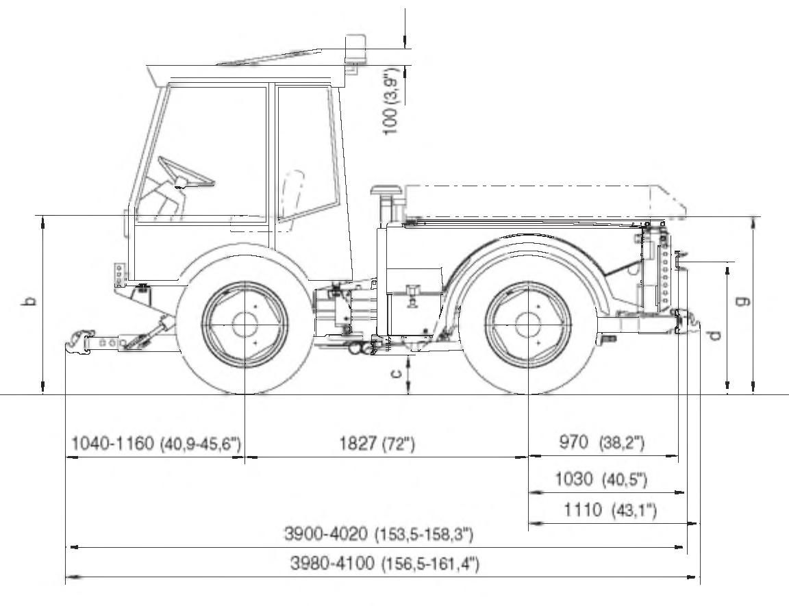 Dimensions of the Holder tractor | tractor manuals | Tractors