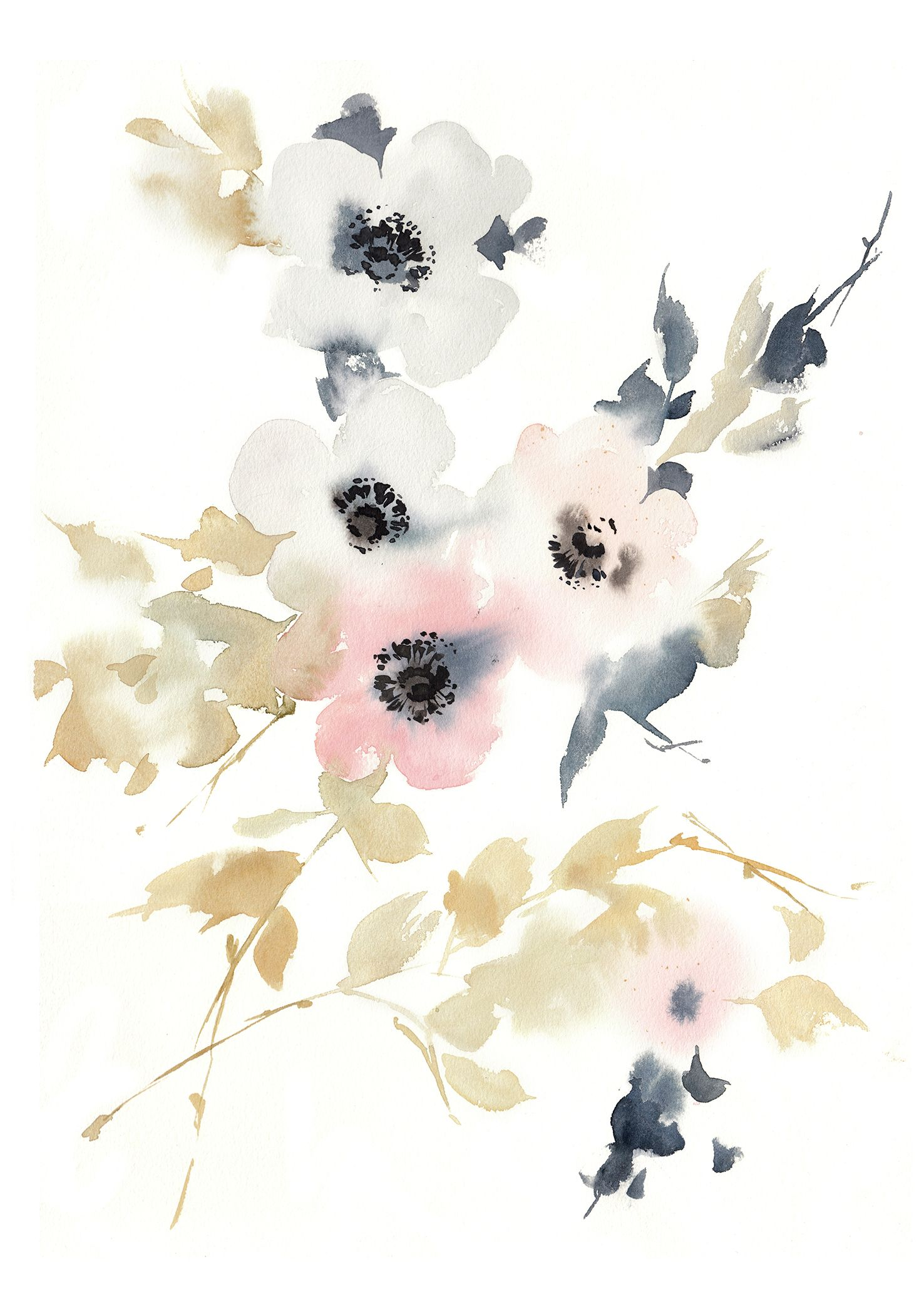 Printable Pink Abstract Flowers Watercolor Wall Art Botanical Loose Flowers Art Abstract Anemone Floral Wall Art Nursery Floral Wall Art Abstract Flowers Abstract Watercolor Flower Floral Nursery Wall Art
