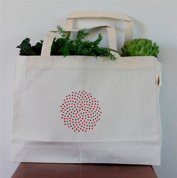 Big organic canvas tote red spiral by IdeaLiza on Etsy
