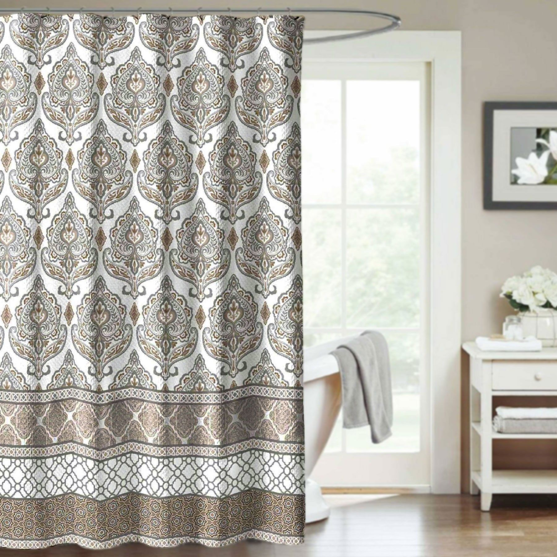 Crest Home Darien Natural Fabric Shower Curtain Damask Medallion Tan And  Gray