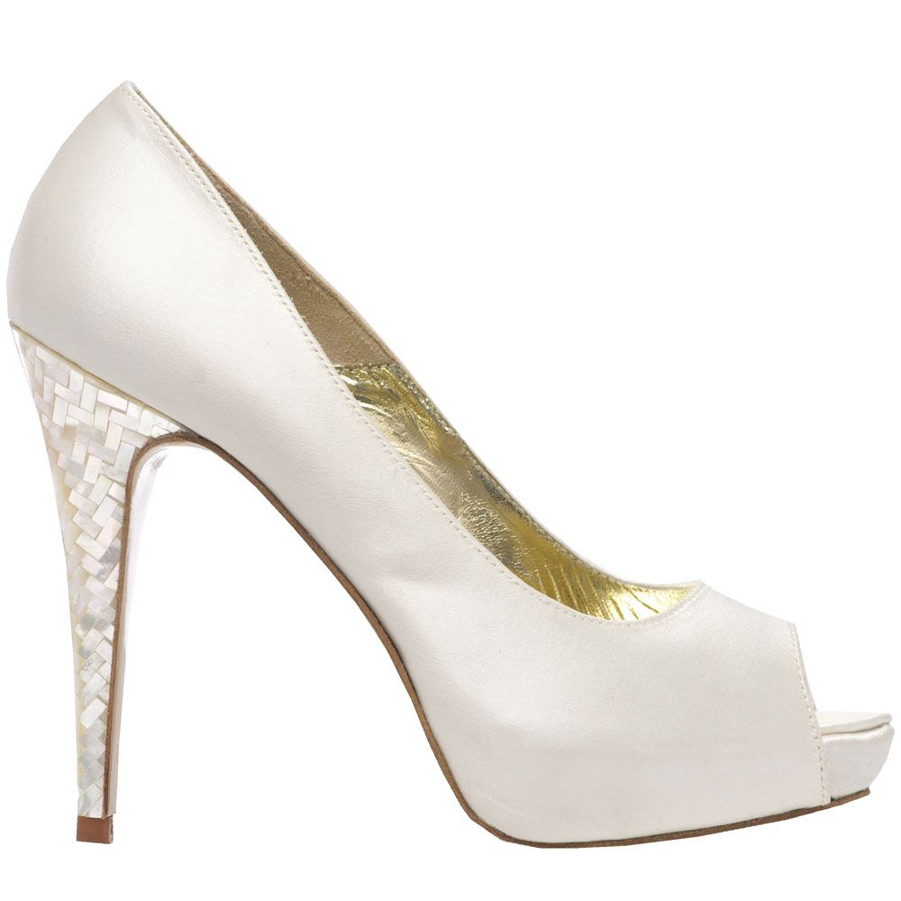 Freya Rose Style Lisa Is A Modern And Stylish Platform Peep Toe Shoe Made With Ivory Duchess Silk Satin Featuring The Signature Mother Of