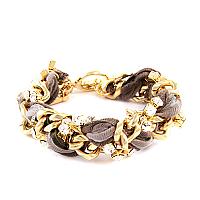 Multi Brown Vintage Ribbon and Rhinestone Thick Chain Bracelet