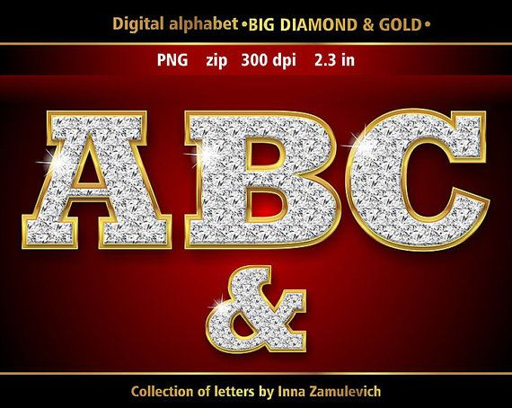 Diamond In Gold Numbers Letters Clipart Png File Format Etsy Digital Alphabet Alphabet Clipart Clip Art