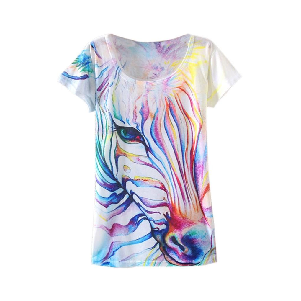 Unique Printing Watercolor Zebra Design Women Personality Short T
