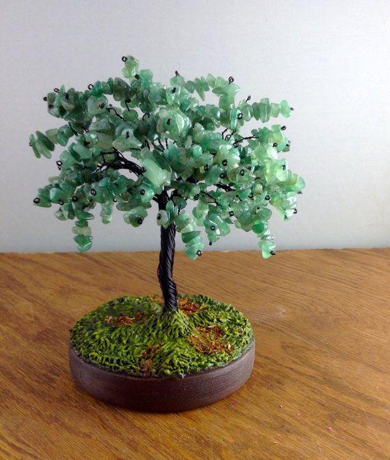 Green Aventurine Gemstone Bonsai Nature by MarilynsTrees on Etsy, $88.00