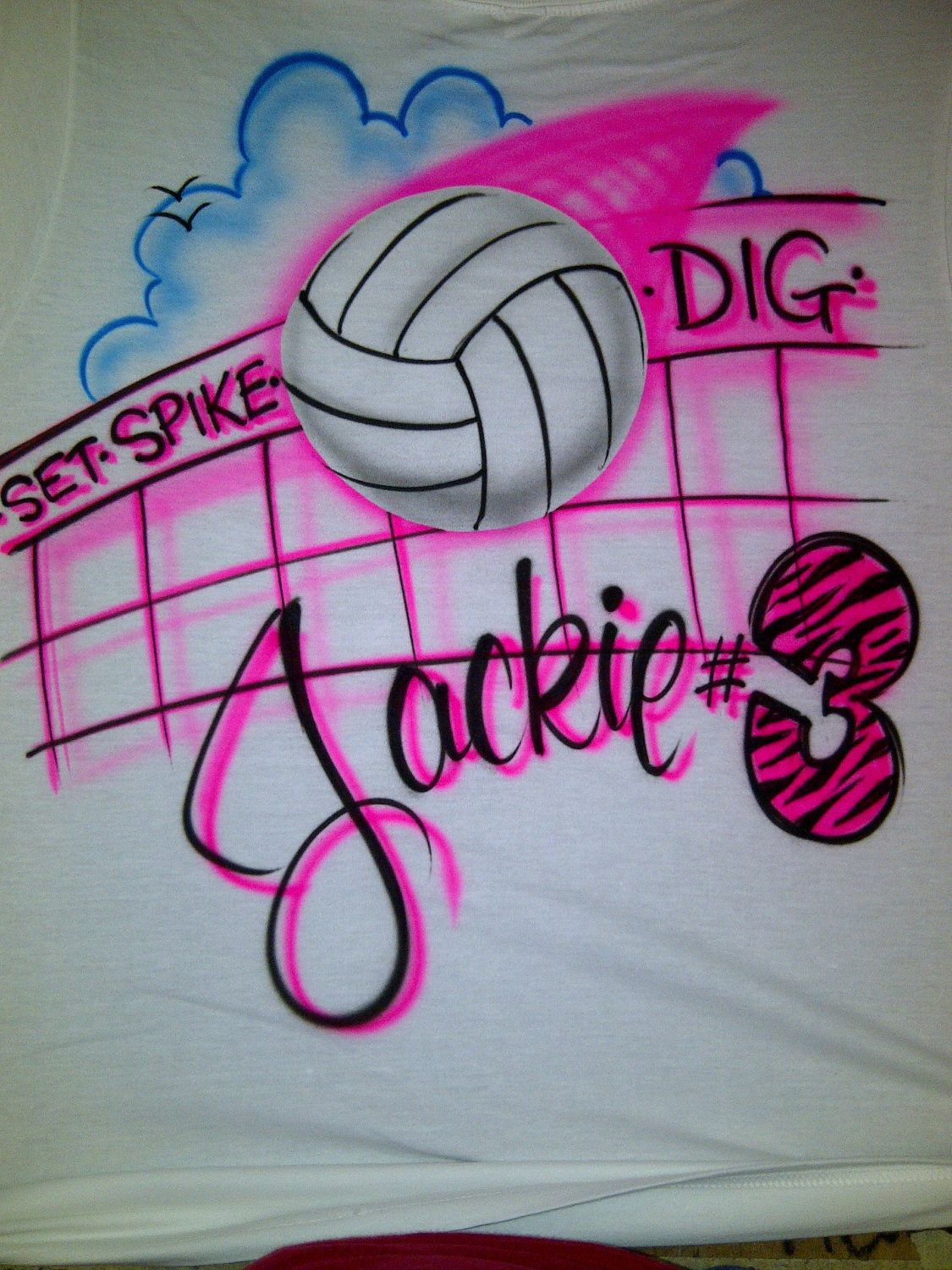 Personalized Airbrush Volleyball Player With Name And Zebra Number S M L Xl 2xl T Shirt 14 99 Via E Volleyball Tshirts Volleyball Banners Volleyball Drawing