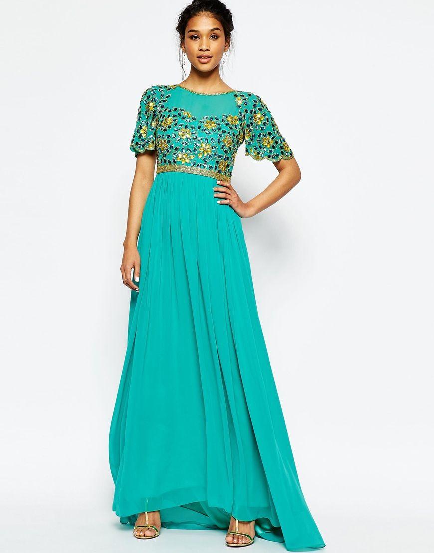 Image 1 of Virgos Lounge Anastasia Embellished Top Maxi Dress ...