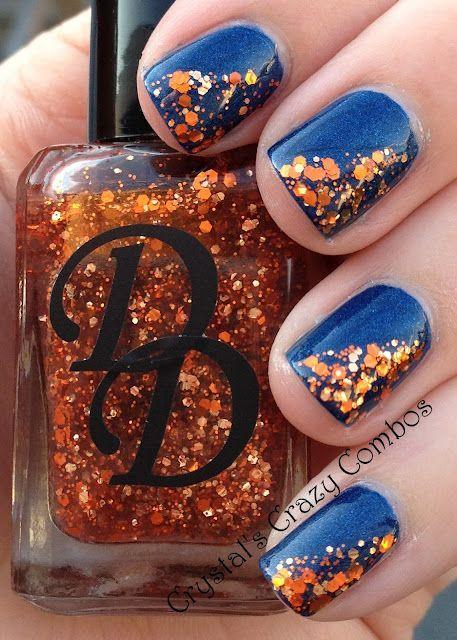 Midnight Blue Mani And Orange Fall Nail Designs Fall Wedding Nails Nails