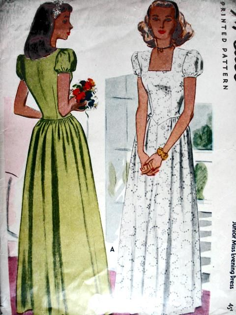 1940s WAR TIME EVENING GOWN PATTERN McCALL 6047   1940s and Gowns