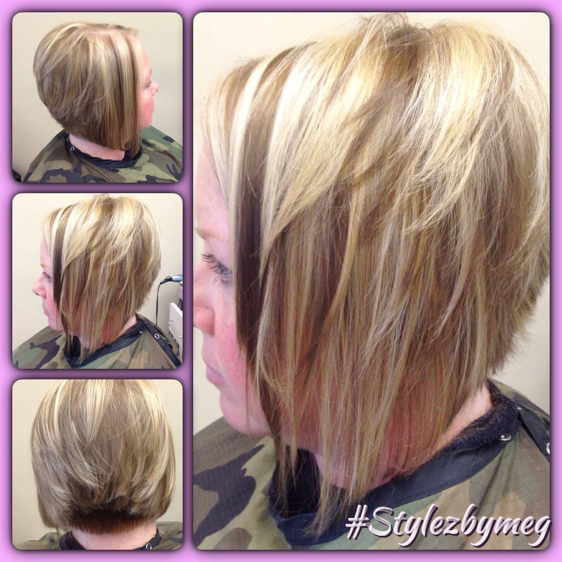 Short haircut with fun thick highlights and lowlights for fall 2014