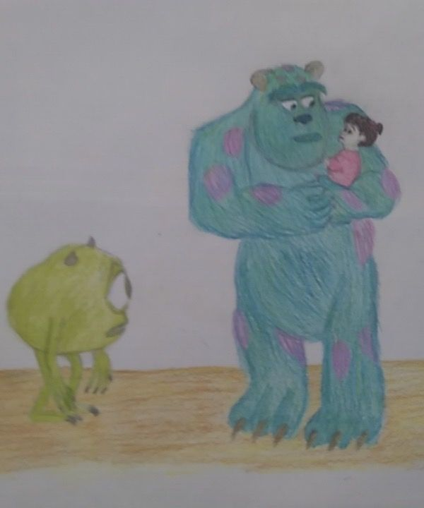 Monsters Inc Boo Sully And Mike Drawing Sully And Boo Pinterest