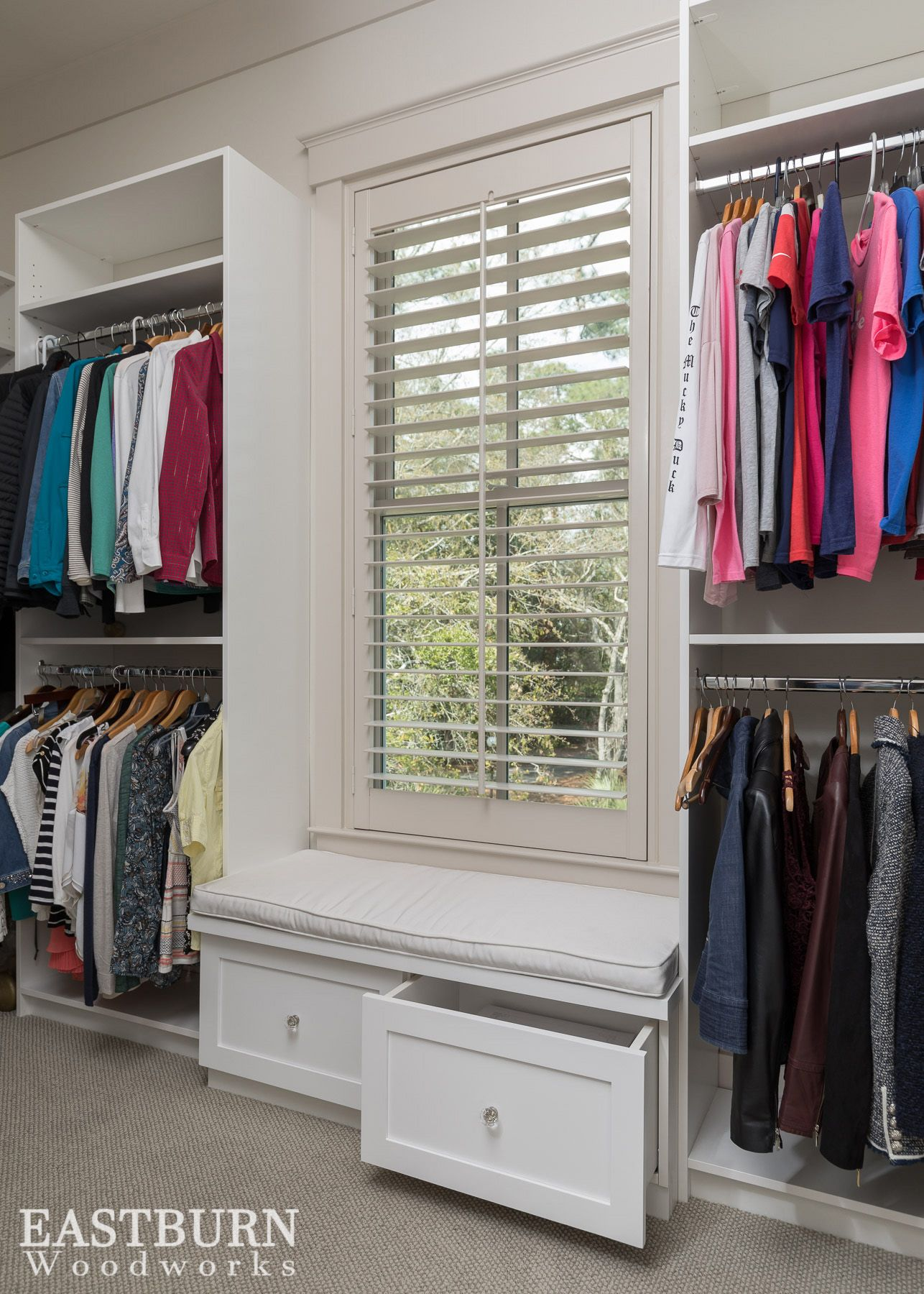 Her Master Closet With A White Bench And Storage Drawers Master Bedroom Closet Closet Remodel Master Bedroom Closets Organization