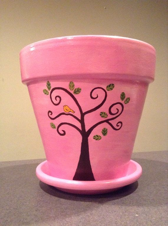 Pink Hand Painted Flowerpot With Trees And By Sheilasgardengirls Clay Flower Pots Painted Flower Pots Diy Flower Pots