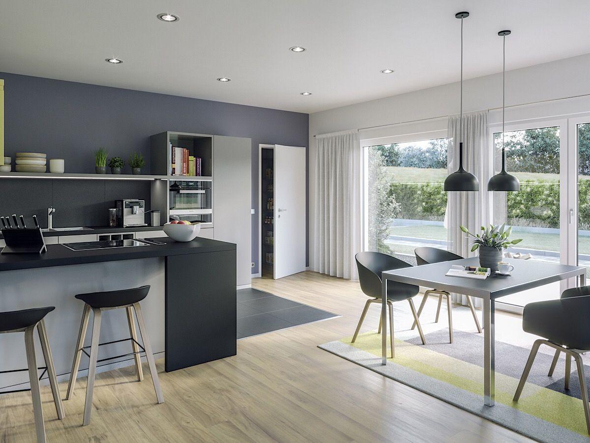 Gut Offene Küche Modern Mit Essbereich   Bungalow Haus Inneneinrichtung Ideen  Fertighaus AMBIENCE 88 V2 Von Bien