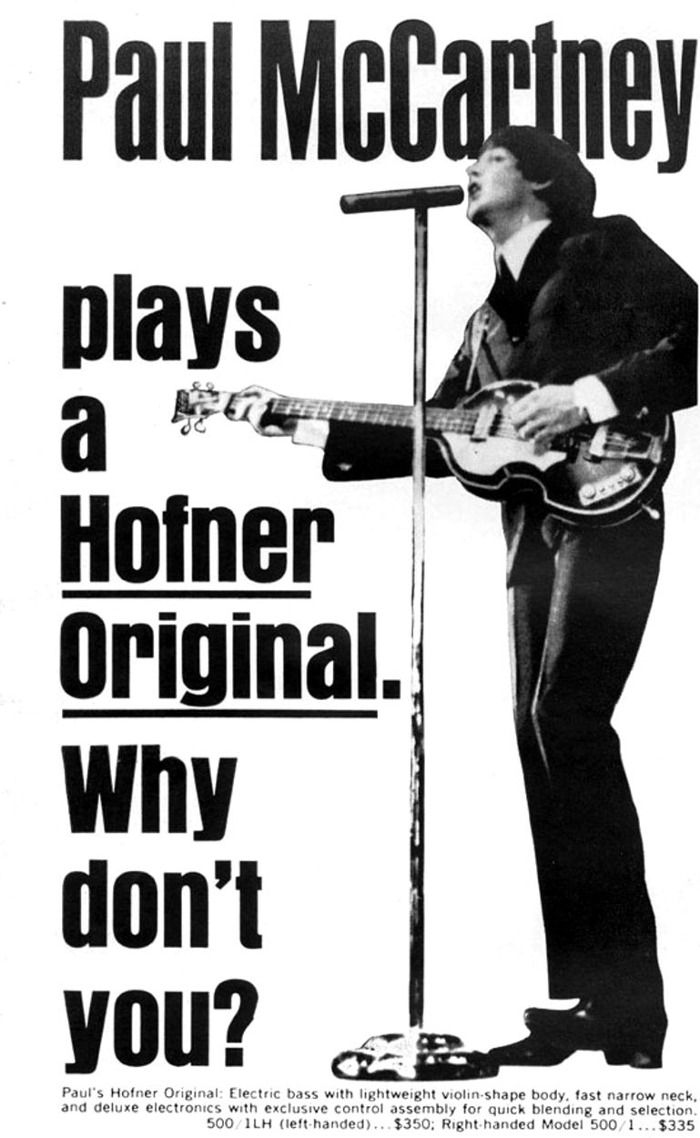 Hofner Bass Guitar Endorsed By Paul Mccartney 1967 1960s Humbucker Wiring Diagram